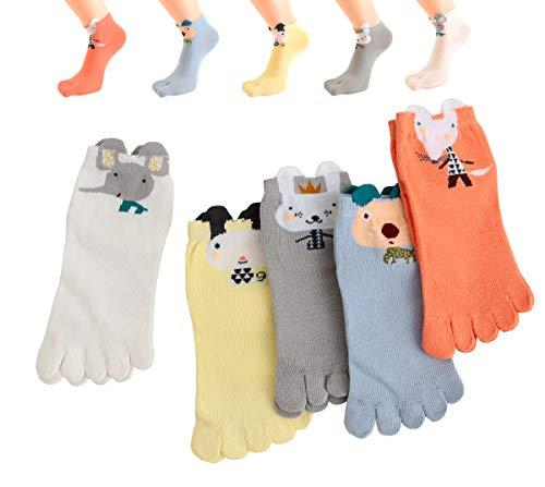 TESOON Cartoon Pattern Toe Socks Kids-Children 5 Pairs 7-12Yrs (Cartoon Casual Pattern)