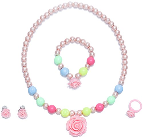 LYLYMIMI Kids Jewelry for Little Girl Toddler Jewelry Bubblegum Necklace and Bracelet Set