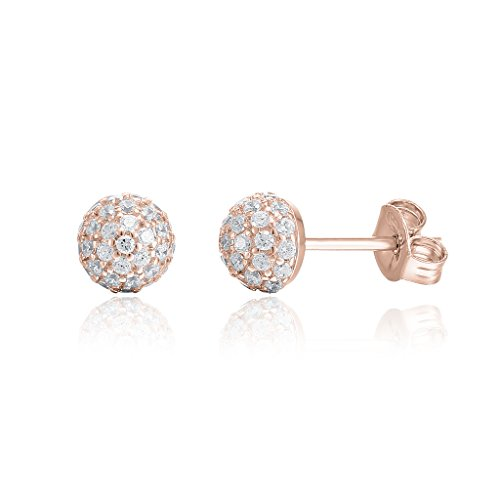 [PAVOI 14K Rose Gold Plated Cubic Zirconia Globe Stud] (Best Hollywood Costumes Designers)