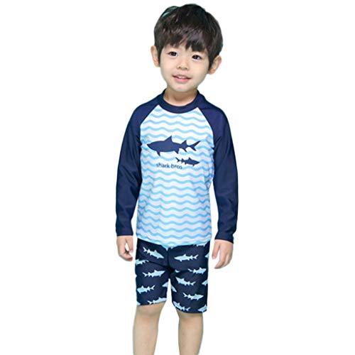 ds Boys Girls Cartoon Shark Top+Wave Shorts+Hat Sunsuit Swimwear Sets Blue ()