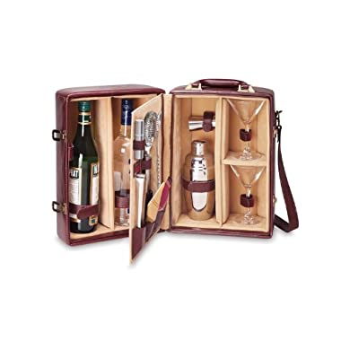 Picnic Time Manhattan Insulated Two-Bottle Cocktail Set, Mahogany
