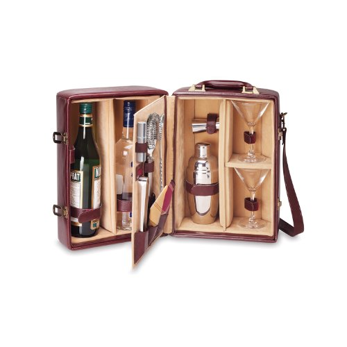 Picnic Time Manhattan Insulated Two-Bottle Cocktail Set, Mahogany by LEGACY - a Picnic Time brand