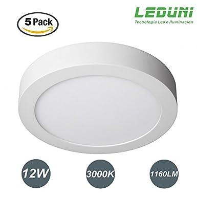 LEDUNI /® Downlight Plaf/ón Superficie LED Redonda 12W 1160LM Color Blanco Fr/ío 6000K Angulo 120 IP40 OPAL Aluminio 170*40Hmm