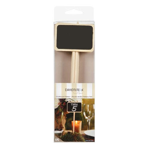 David Tutera Mini Wood Chalkboard Stakes for Wedding and Party Table Markers, Crafting and Embellishing- 8 Pieces