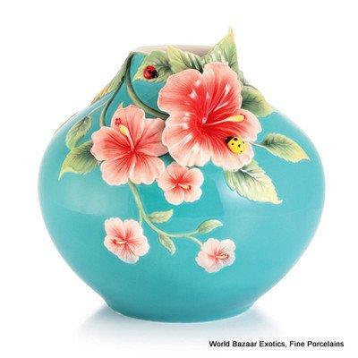 FZ03016 Forever in love Hibiscus & ladybug round vase Franz Porcelain new 2012