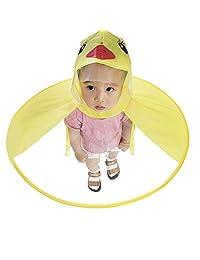 KOBWA UFO Raincoat, Cute Yellow Duck Hooded Rain Coat, Foldable Umbrella Hat Hands Free Raincoat for Kids (S)