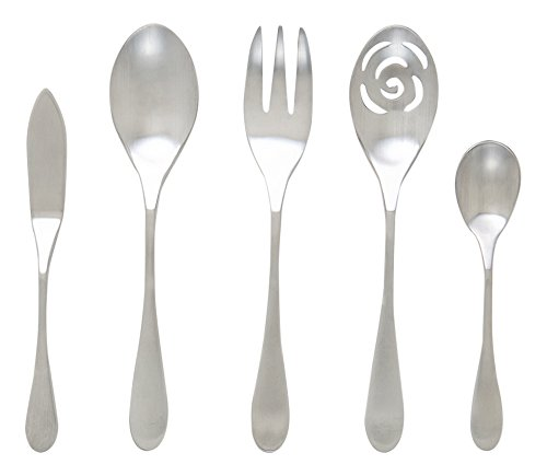 Satin Serving Flatware - Knork 5 Piece Matte Serving Set 18/10 Stainless Steel
