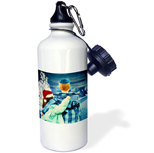 3dRose Doreen Erhardt Interfaith Collection - Boy in a Yamuka and Girl in a Santa Hat Winter Interfaith Painting - 21 oz Sports Water Bottle (wb_252476_1) (Outdoor Collection Painting Seasonal)