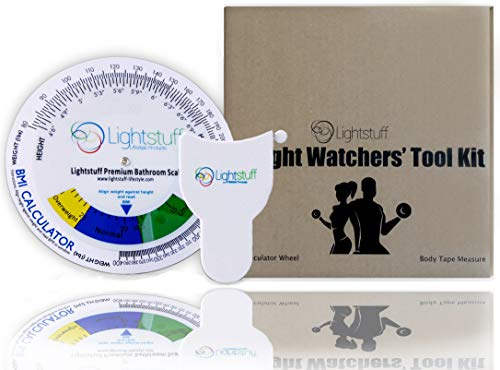 (Lightstuff Weight Tracking Tool Kit: Measuring Tape for Body, BMI Calculator, Visual Starter Guide & Tracking Chart - Easy, Reliable Companion for Your Weight-Loss Journey)