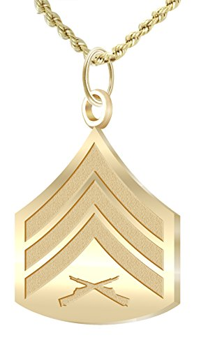 US Jewels And Gems 14k Yellow Gold US Marine Corps Sergeant Pendant 1.2mm Rope Necklace, 20in