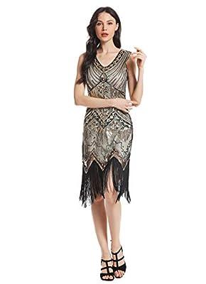MS STYLE Women's Flapper Dresses 1920s V Neck Beaded Fringed Great Gatsby Dress