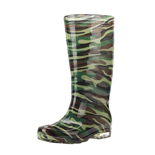 Men's Leisure Camouflage Flat - Round Toe Shoes Waterproof High Cylinder Rain Boot,2019 New (Best Rain Boots 2019)
