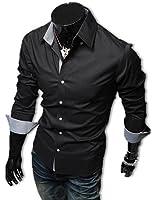 Fairy Stone ボタンがお洒落 ドレスシャツ メンズ 長袖 チェック スリム フィット LEON系 カッターシャツ ワイシャツ カジュアル フォーマル ビジネス きれいめ おしゃれ ネイビー ブラック ホワイト M L XL タオル S-06