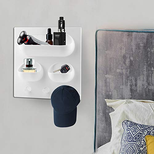 OKOMATCH Bedside Shelf Organizer, Bedside Caddy Tray-Wall Mountable Floating Storage with Self Stick On for Bedroom,Bathroom and Kitchen,Designed for Cellphone,Glasses,Remote,Earphone