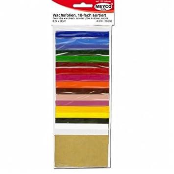 Meyco - 18 fogli di cera per candele, 5 x 8,5 cm, colori assortiti 36266
