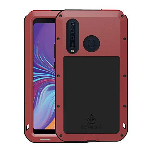 A920 Cell Phone Accessory - Simicoo Samsung A9S A9 A920 Aluminum Alloy Metal Bumper Silicone case Built-in Gorilla Glass Hybrid Military Shockproof Heavy Duty Armor Defender Tough Hard Cover for Samsung A9S A9 A920 (Red)