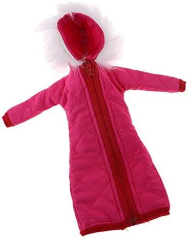 1/6スケール ドールウィンターコスチューム ロングジャケット コート 3色 - ローズレッド