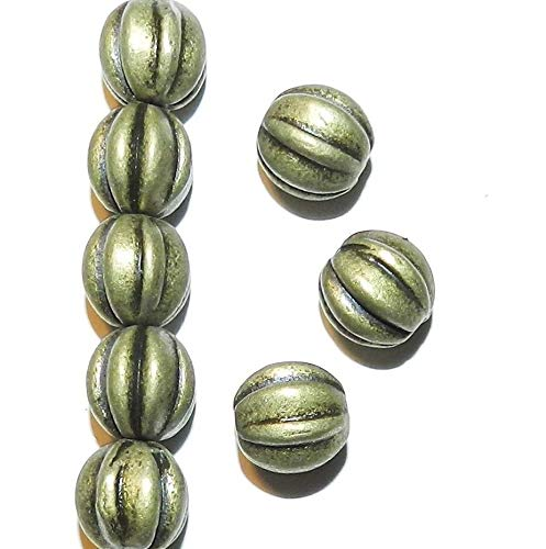 Pendant Jewelry Making Antiqued Gold Bronze 9mm Corrugated Round Metal Spacer Beads 20pc ()