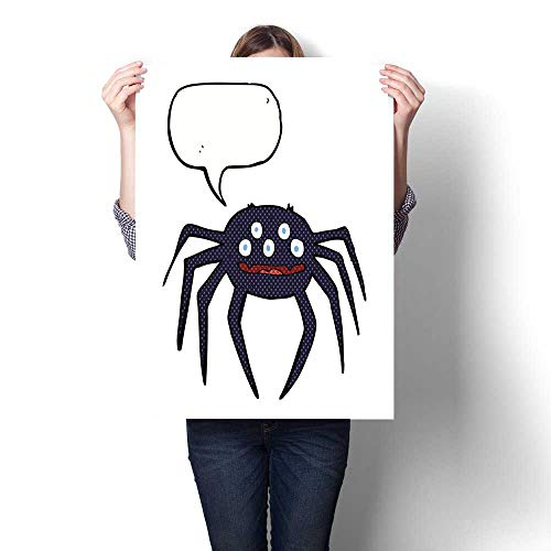 bybyhome Wall Art Oil Paintings Cartoon Halloween Spider with Speech Bubble Decorative Fine Art Canvas Print Poster K 16