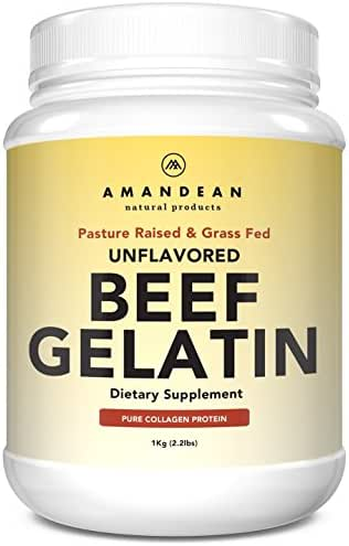 Amandean Grass-Fed Beef Gelatin Powder XL 2.2lbs | Unflavored | Bovine Collagen Protein Supplement | 18 Amino Acids for Healthy Skin, Hair, Joints, Gut | Keto & Paleo Friendly For Cooking | Non-GMO