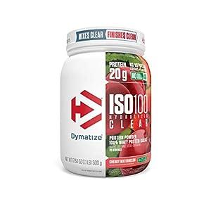 Dymatize ISO100 Hydrolyzed Clear Protein Powder, 100% Whey Protein Isolate Powder, 20g of Protein & 4g BCAAs, Gluten Free, Keto Friendly, Easy Mixing, Light & Refreshing, Cherry Watermelon, 1.1 lbs