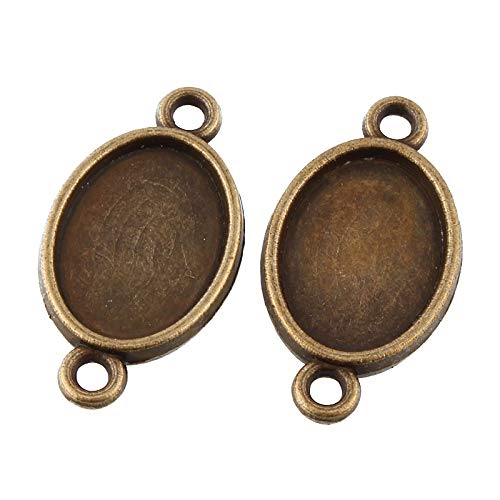 14x10mm Oval Pendant - Pandahall 50pcs Vintage Tibetan Style Antique Bronze Double Sided Blank Bezel Cabochon Settings 14x10mm Inner Diameter Nickel Free Oval Frame Pendant Tray Chandelier Link Charms