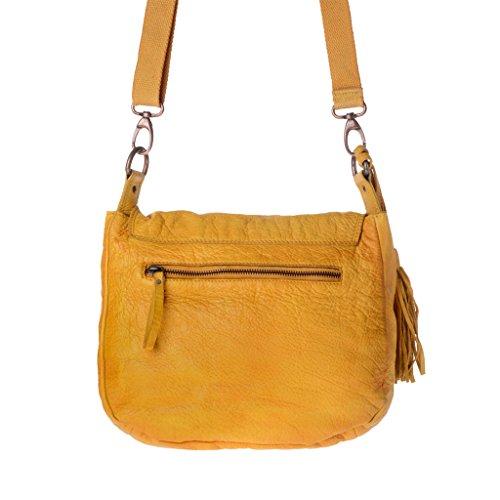 Borsa lavata a tracolla in pelle vintage con patta e coulisse DUDU Saffron Yellow