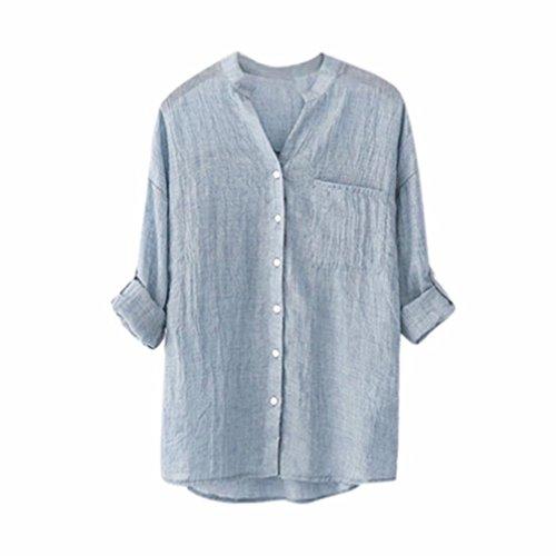 ClearanceWomensBlouses,KIKOY Stand Collar Long Sleeve Shirt Casual Button