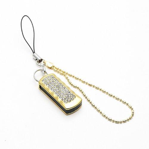 D-CLICK TM 8GB/16GB/32GB/64GB/ Fashion Jewelry Bling Shiny Crystal Diamond pendant USB High speed Flash Memory Stick Pen Drive Disk Necklace (8GB, Mini Keychain Golden) (32 Mini Pendant)