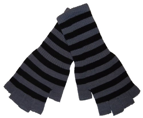 Tipless Gloves (Fingerless knit Gloves - Comes in several colors! (Black/Grey))