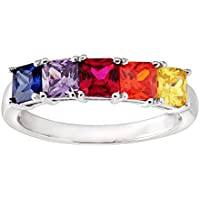 Finecraft Ruby & Multi-Colored Cubic Zirconia Band Ring