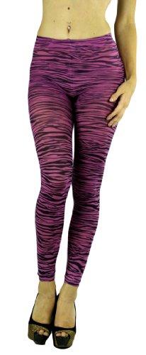ToBeInStyle Women's Elastic Animal Print Footless Leggings - One Size - Zebra Purple