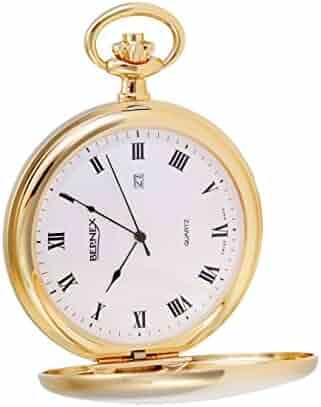 GB21135 - Gold Plated - Demi/Half Hunter - Quartz Movement - Roman Dial - Textured Dial