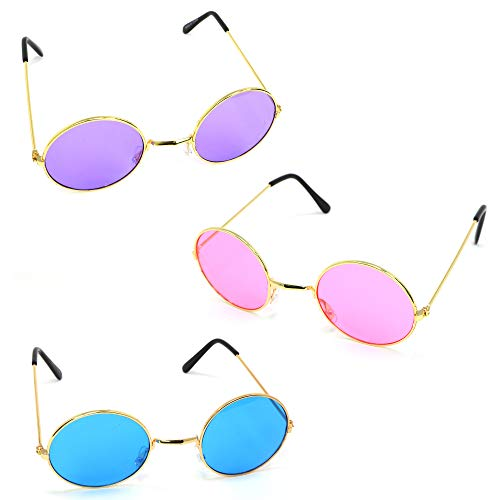 682f46242739 Skeleteen John Lennon Hippie Sunglasses – Pink Purple and Blue 60's Style  Circle Glasses Favors -
