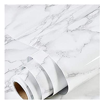 practicalWs Marble Contact Paper Granite Gray/White Roll Kitchen countertop Cabinet Furniture is renovated Thick Waterproof PVC Easy to Remove Without Leaving Marks Upgrade