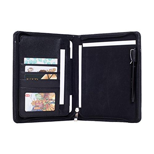 JoyNote iPad Mini Folio Case Design Leather Organizer Portfolio Cases for Ipadmini Zippered Business Resume Padfolio Folder B5 - Mini Folio