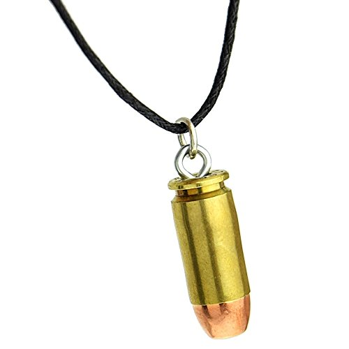 Flat Nose Bullets (Flat Nose Bullet Metal Pendant Choker 18 Inch Necklace Black Cord Mens Punk Gun Ammo Jewelry)