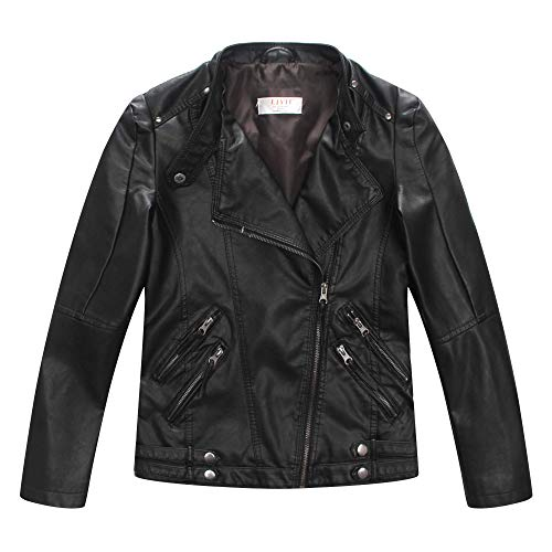 LJYH Boys Casual Faux Leather Moto Jacket Coats Kids Outerwear 13-14years - Boys Leather Faux