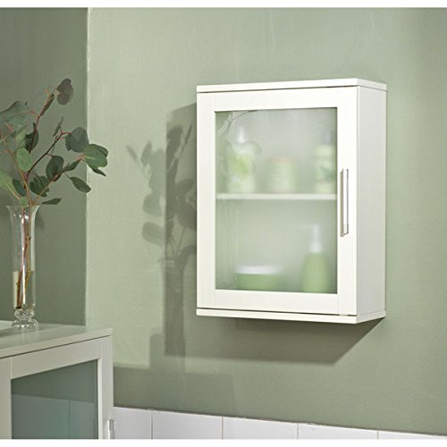 Simple Living Antique White Frosted Pane Wall Cabinet by (Simple Living)