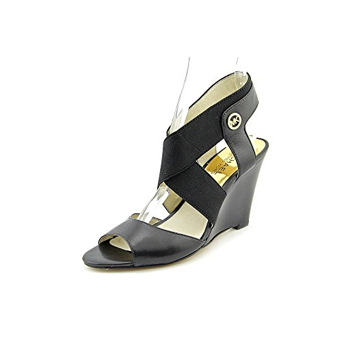 Michael Kors Meadow Wedge Womens Size 9 Black Leather Wedge Sandals Shoes
