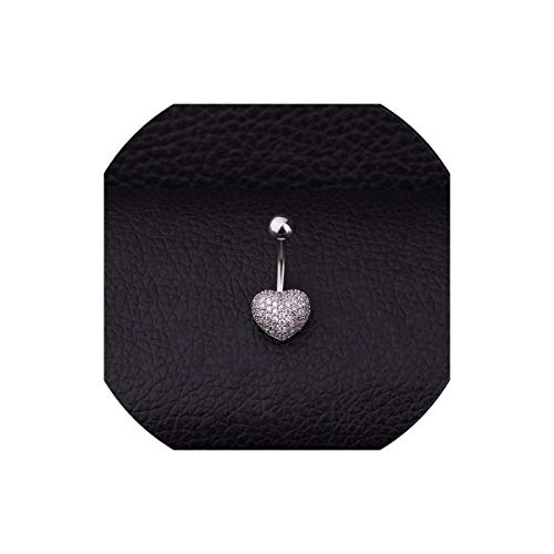 - Round And Heart Micro Pave Cubic Zirconia Belly Button Rings,Heart Silver