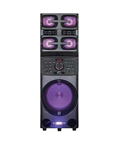 Axess PABT6027 Bluetooth PA Speaker, Loud Party Speaker with 5 Speakers, 6400 Watt Power, LED Disco Lights, USB - Aux - FM - Mic & Guitar Inputs, Bass-Treble Control, X-Bass, Remote Control
