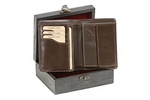 Cartera con solapa muy delgada para señores y señoras (con la caja de madera) LEAS, Piel auténtica, marrón - ''LEAS Elegance-Edition''