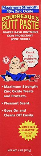 Boudreaux's Butt Paste Maximum Strength Diaper Rash Ointment, 4 Ounce, (Pack of 3) ()