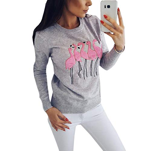 Capucha Sweatshirt Embroidery Mujeres Loose Sudadera Slilm Enosiegoiw Grey Con Pattern Flamingo UxnRwqtzES
