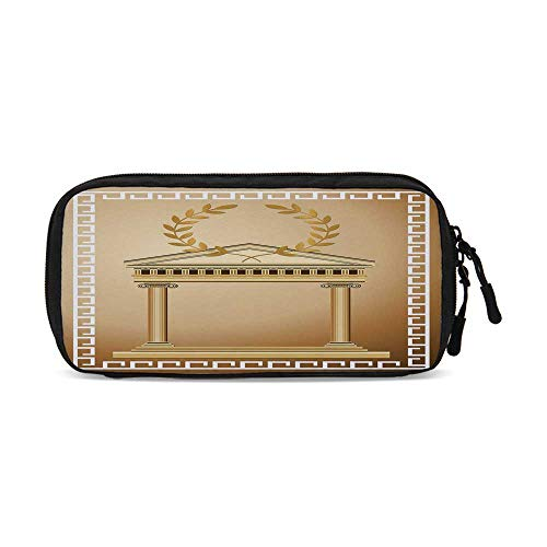 (Toga Party Practical Data Storage Bag,Antique Temple with Roman Olive Branch and Greek Architecture Motif for Organizing Cables,One)
