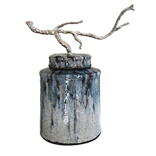 Finial Terra Cotta (A&B Home FD0341T Terracotta Lidded Jar with Branch Finial)
