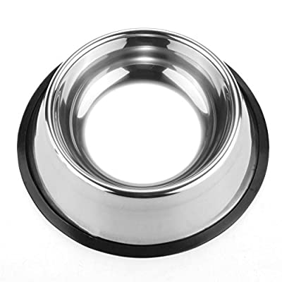 Pet Bowls for Smaller Dogs & Cats. Wipe Clean, Stainless Steel Non-Skid Bottom for Dogs, Puppies, Cats, Kittens, Rabbits & more. Set of 2
