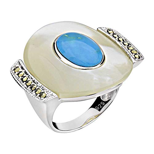 Sterling Silver Mother of Pearl, Turquoise & Marcasite Ring Sz 5