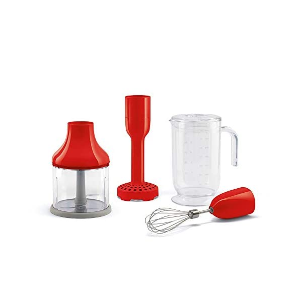 Smeg HBAC01RD Accessory Set for HBF01 50's Retro Style Hand Blender, Red 1